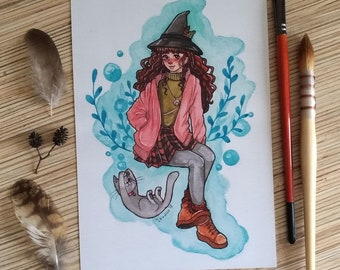 Leka Witch A5 print watercolor illustration