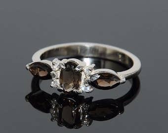 Anniversary ring, Quartz ring, Sterling silver ring, Silver quartz ring, Brown stone ring, November birthstone, Smoky quartz ring