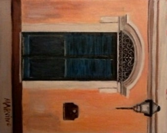 Oil painting The Blue Door original artwork small painting Free shipping in USA