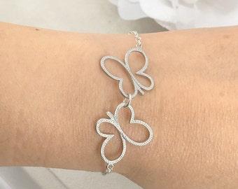Papillon argent mat et Bracelet de perles d'eau douce