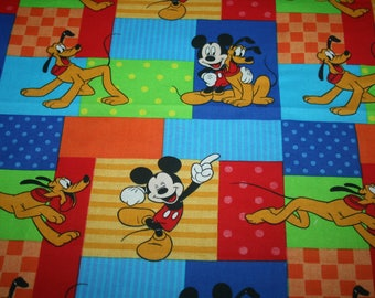 Walt Disney Mickey Mouse and Pluto Two Small Piece of Cotton Fabric