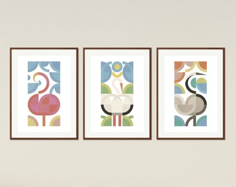 Birds - Set of Posters, Large Scandinavian Print, Scandinavian Modern Home Decor, Mid Century Modern, Printable Art, Instant Download
