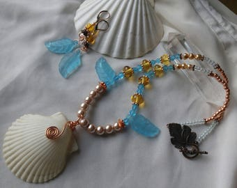 Turquoise Sea Glass and Shell Necklace Set