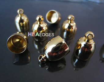 2 pcs Gold End Caps 8mm - Findings Gold Plated Bullet Kumihimo Dome Shape Large Leather Cord Ends Cap with Loop 14mm x 10mm