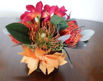 Floral arrangement, tropical floral arrangement, Small floral arrangement, red and orange floral arrangement, Red and orange tropical floral