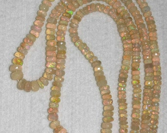 Opal, Ethiopian Opal, Grade A, Faceted Heishi, Natural Stone, Semi Precious, Gemstone Bead, Gold Stone, Half Strand,4-7mm, AdrianasBeads