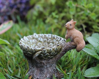 "Sammy Squirrel Bird Bath 2.5"" for the Fairy Garden"