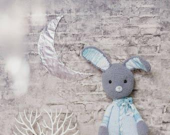 Crochet Rabbit Toy Amigurumi Bunny Doll Plush Bunny Knit Doll Stuffed Rabbit Knit Bunny Doll Amigurumi Bunny Personalize Gift for Baby Boy