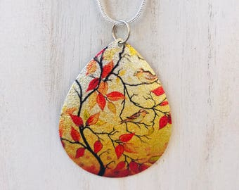 Beautiful Fall Painted Leaves Flat Pendant Necklace