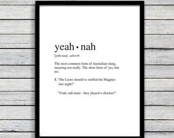 Yeah Nah | Art Print | Australian Humour | Funny Art | A4 Unframed - Free Shipping within Australia