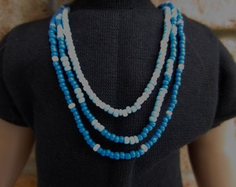 18 in doll jewelry, doll beads, infinity necklace, doll necklace, seed beads, blue beads, doll wrap necklace, 18 inch doll beads