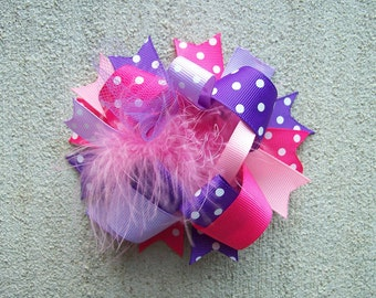 Hair Bow---Funky Fun Over the Top Bow---Pinks and Purples---Perfect Bow---