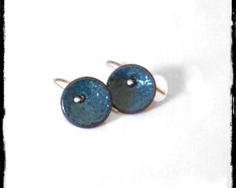 Small  earrings enamelled Copper Enamels blue - hook in silver 925 - Romantiques