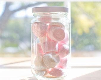 80 x 375ml medium round glass jars - White / black / gold / silver metal lids - 12.8cm tall