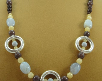 Natural Blue Chalcedony, Purple Aventurine, Calcite, Sterling Silver Bead 21 Inch Necklace Item #427