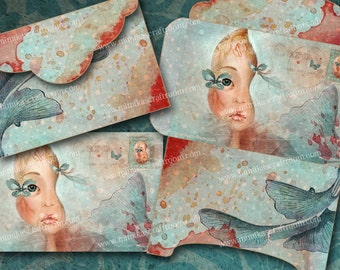 MERMAID - Printable Download Digital Collage Sheet paper Printable envelope Digital scrapbook paper Digital decoupage, INSTANT DOWNLOAD