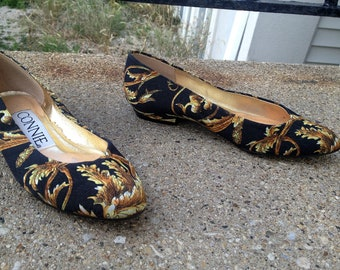 80s Baroque Floral Gold and Black Connie shoes 80s Swag size 6.5 ladies