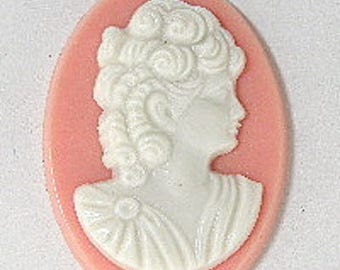 Woman with ringlets resin cameos, 25mm x 18mm, set of 3 #cam001