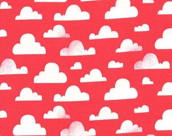 SALE 25% OFF Cloudy in Coral Pink Premium Cotton Fabric by Michael Miller Fabrics
