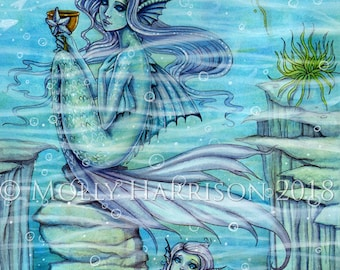 Six of Cups - Original Watercolor and Mixed Media Painting by Molly Harrison - Published Art 78 Tarot