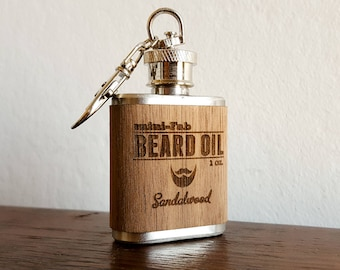Beard Oil - Sandalwood Scent - Men's Grooming All-Natural Oil - Handmade in Small Batches - Reusable Flask - Wood Label -  1 oz.