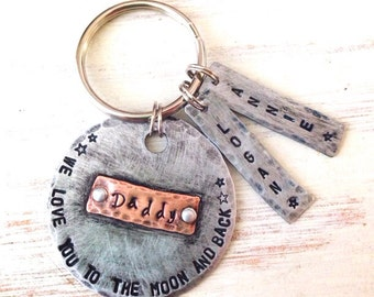 Custom hand stamped keychain   Love You To The Moon   Dad Keychain   Personalized Keychain   Father's Day Engraved keychain ,