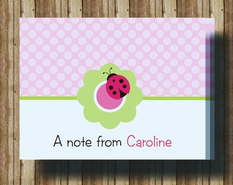 PERSONALIZED LADYBUG NOTECARDS for Girls/Boxed Set of 10 Folded Cards/Pink Polka Dot Ladybug Stationery/Ladybug Thank You Card/Ladybug Party