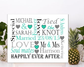Personalised wedding word art couples love anniversary gift present bride groom bridesmaid canvas
