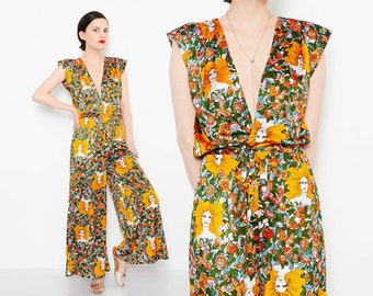 RARE 70s Jumpsuit Floral GODDESS Lady Novelty Print Plunging Neckline Boho Hippie Pantsuit 1970s Disco Romper with Belt Small XS S