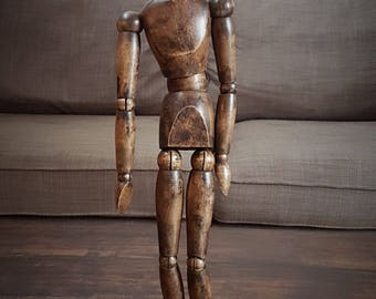 RARE RARE French articulated Artist's mannequin wooden doll, Articulated Model, Wooden Mannequin, Antique Lay Model, 19th Century French