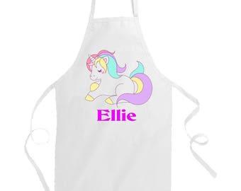 Personalised Child Apron. Kid's Aprons. Toddler aprons. Children's Aprons. Hand-printed Apron with unicorn motif. Unicorn Apron.