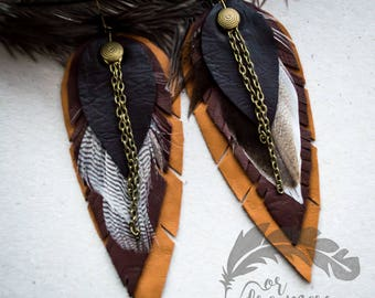 For dreamers jewelry Leather jewelry Brown leather   Feather earrings  Leather feathers Personalized jewelry Boho jewelry  Brown jewelry
