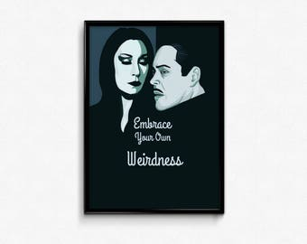 Morticia and Gomez from the Addams Family movie art prints poster.