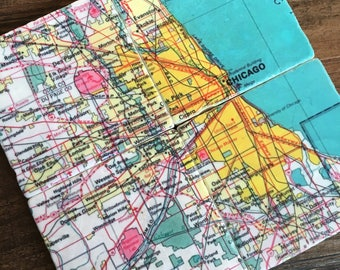 Chicago Map stone coasters