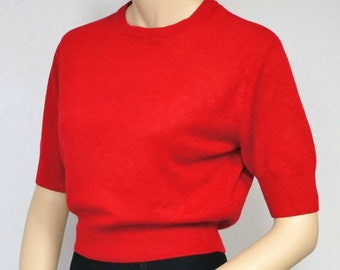 1970's Red Sweater Knit Top Pin-Up Pullover Short Sleeve Crew Neck Express Tricot Crop Size Small