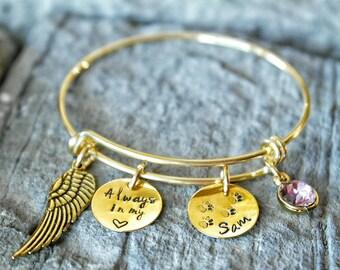 Pet Memorial Bracelet - Loss of Pet Bracelet - Angel Bracelet - Always in my Heart - Dog Bracelet - Cat Bracelet - Pet Death Bracelet