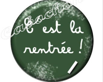 1 cabochon illustrated 30mm glass cabochon image back to school, school