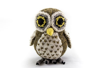 KNITTING PATTERN, Owl,PDF, Soft Toy Knitting Pattern, Australian Boobook Owl, Wildlife Toy, Soft Toy, Knitted Softie Pattern, Knit Owl