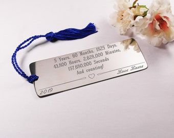 Engraved bookmark gift 5th anniversary gift for her gift for him 5th anniversary pewter bookmark customised gift metal bookmark book lover