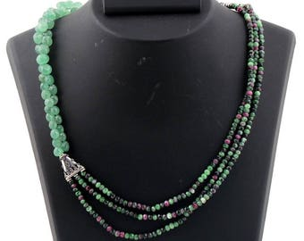 Natural Chrysoprase and Ruby Zoisite Necklace Exclusive Quality beautiful Evening Necklace for her