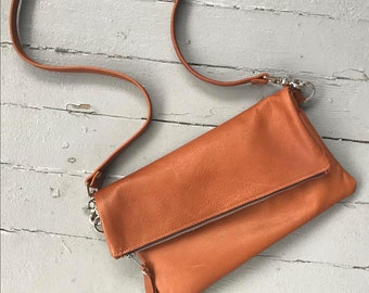 FOLDOVER CLUTCH - foldover crossbody bag - customizable clutch - leather clutch purse - leather zippered clutch - leather foldover clutch