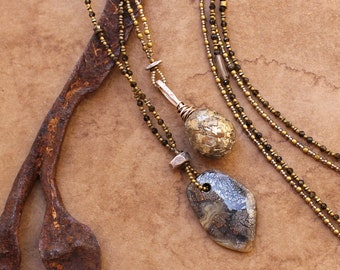 Pyrite and Marcasite Necklace Layering Pair + Brass and Chrysoberyl Beads + Long Necklace + Desert Gold +  Gary Wilson + Designer + OOAK