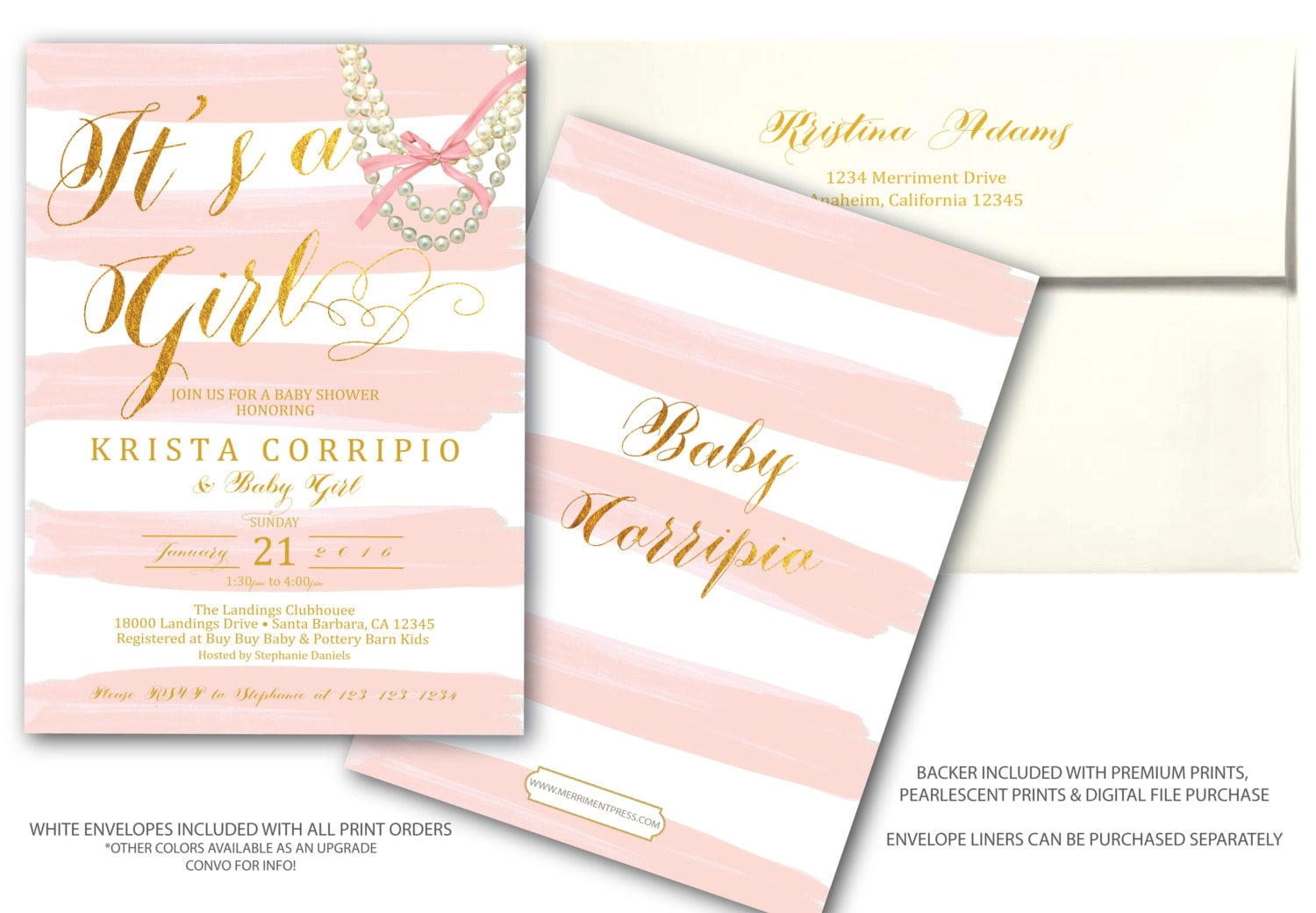 Blush Pink Gold Baby Shower Invitation // Pink Stripes // Watercolor ...