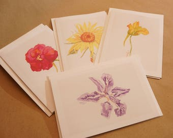 Flower Note Cards, Prints of Original Watercolor Paintings, 4-pack, Ready-to-Ship
