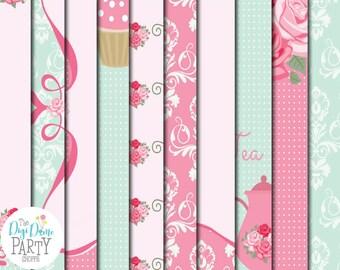 High Tea Digital Scrapbooking Paper Pack in Pink & Mint, Buy 2 Get 1 FREE. Instant Download