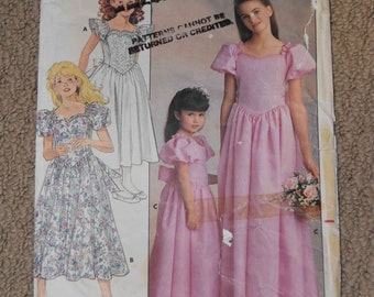 Butterick 4672 Girls Formal Dress Size 12-14