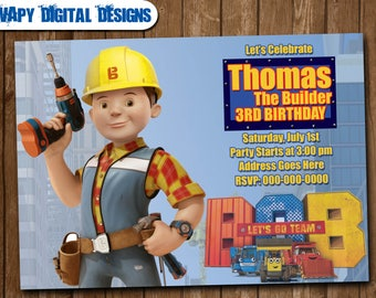 The Builder Digital Party invitation customize invite birthday thank you card