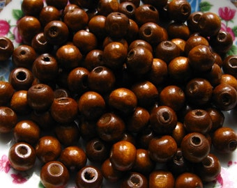 9mm Brown Wooden Beads - Over 100 - 9mm Glossy Chocolate Wood Beads, Lead Free (WBD0024)