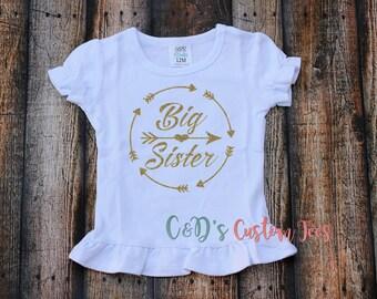 Big Sister Shirt - Sibling Shirt - Big Sister - Sister Shirt - Gold Glitter Big Sister Shirt - Girls Shirt - Glitter Shirt - Big Sister Tee