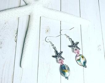 Starfish Swarovski Crystal and Abalone Shell Dangle Earrings